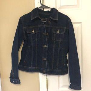 Dark blue jean jacket.